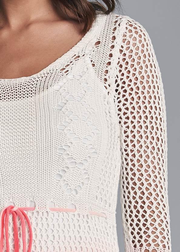 Detail front view Ombre Crochet Mini Dress