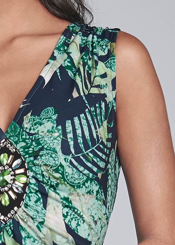 Detail front view Tropical Print Maxi Dress