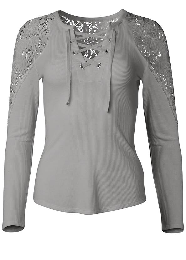Ghost with background  view Lace Sleeve Lace Up Top