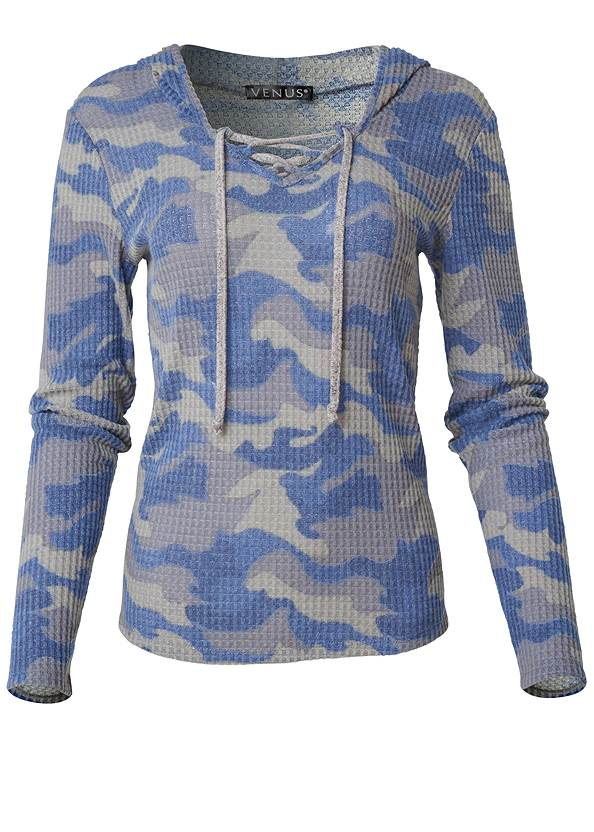 Ghost with background  view Cozy Waffle Knit Lounge Top