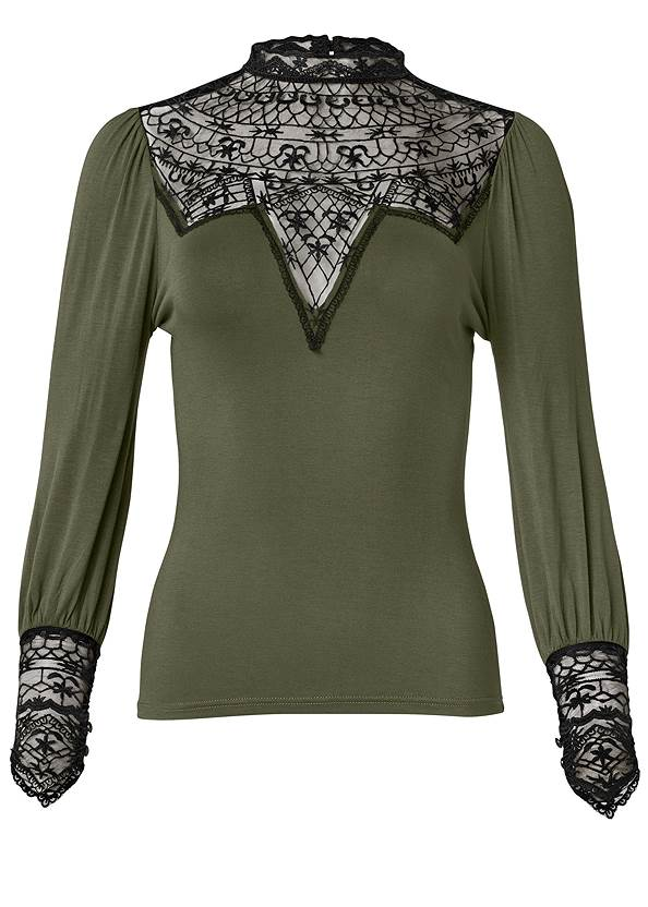 Ghost with background  view Lace Detail Mock Neck Top