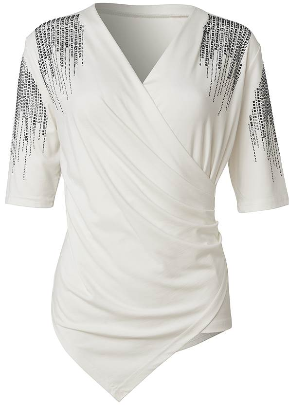 Ghost with background  view Embellished Sleeve Top