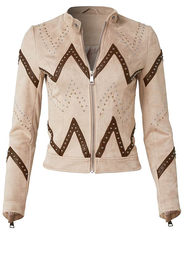 Ghost with background  view Faux Suede Moto Jacket