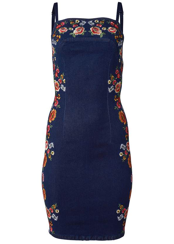 Ghost with background  view Embroidered Denim Dress