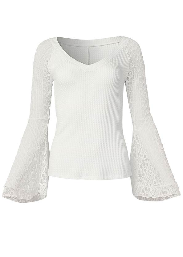 Ghost with background  view Lace Bell Sleeve Waffle Knit Top