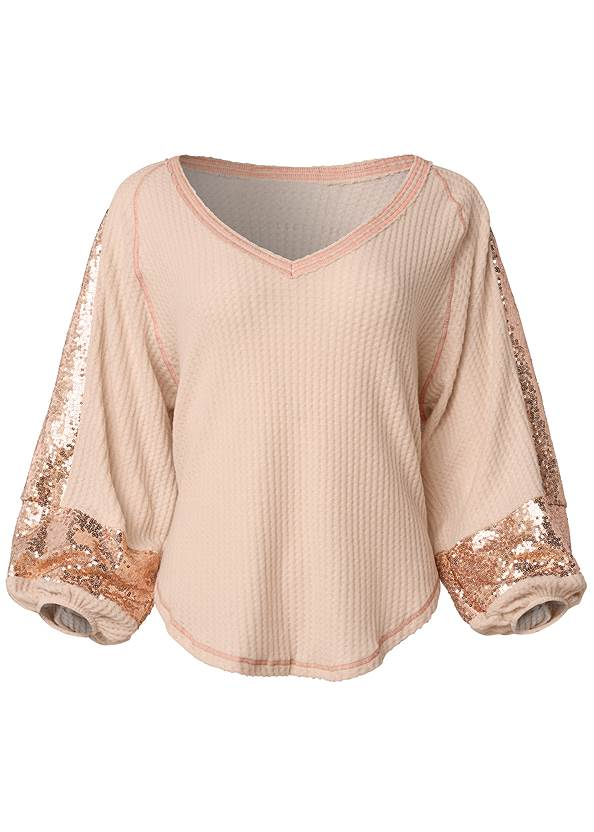 Ghost with background  view Sequin Waffle Knit Top
