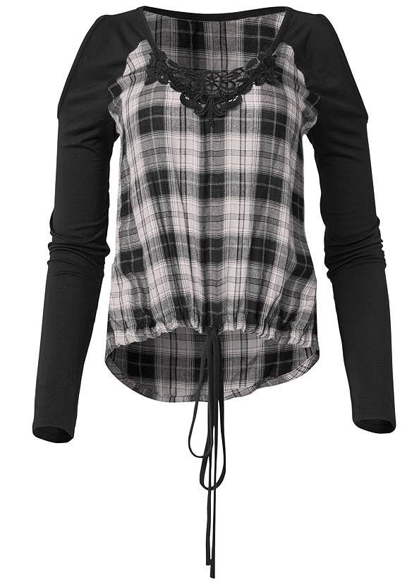 Ghost with background  view Plaid Cold Shoulder Top