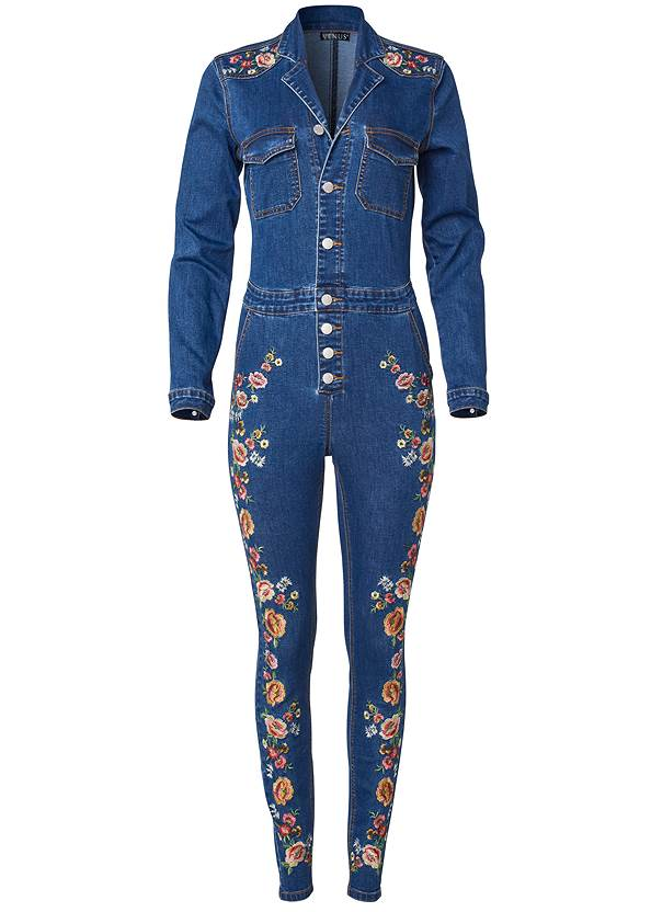 Ghost with background  view Embroidered Denim Jumpsuit