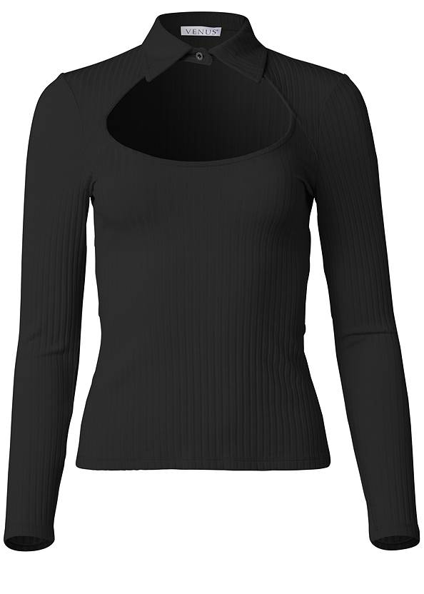 Alternate View Ribbed Collared Neck Top