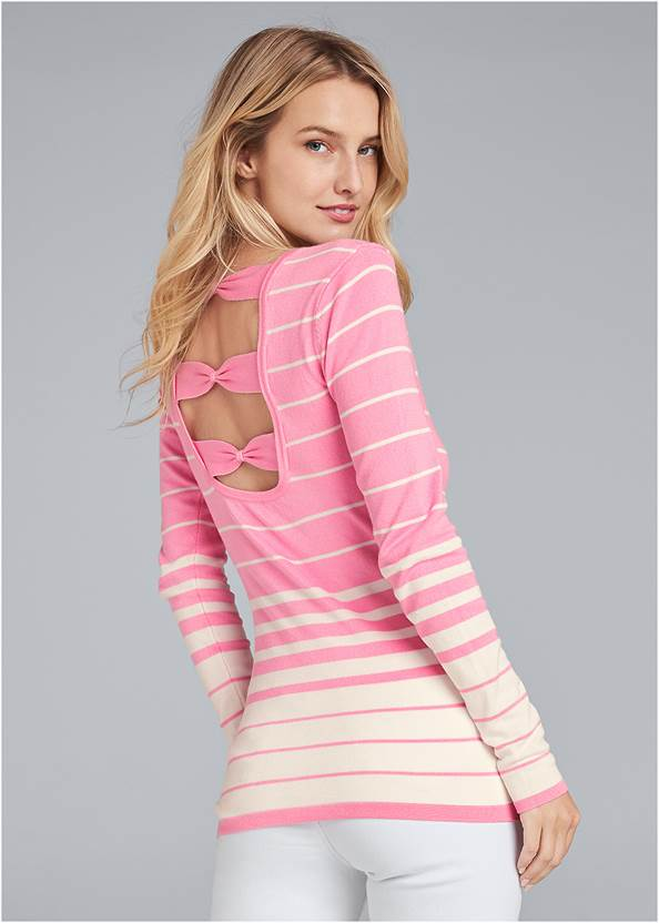 Back Detail Striped Sweater,Mid Rise Color Skinny Jeans