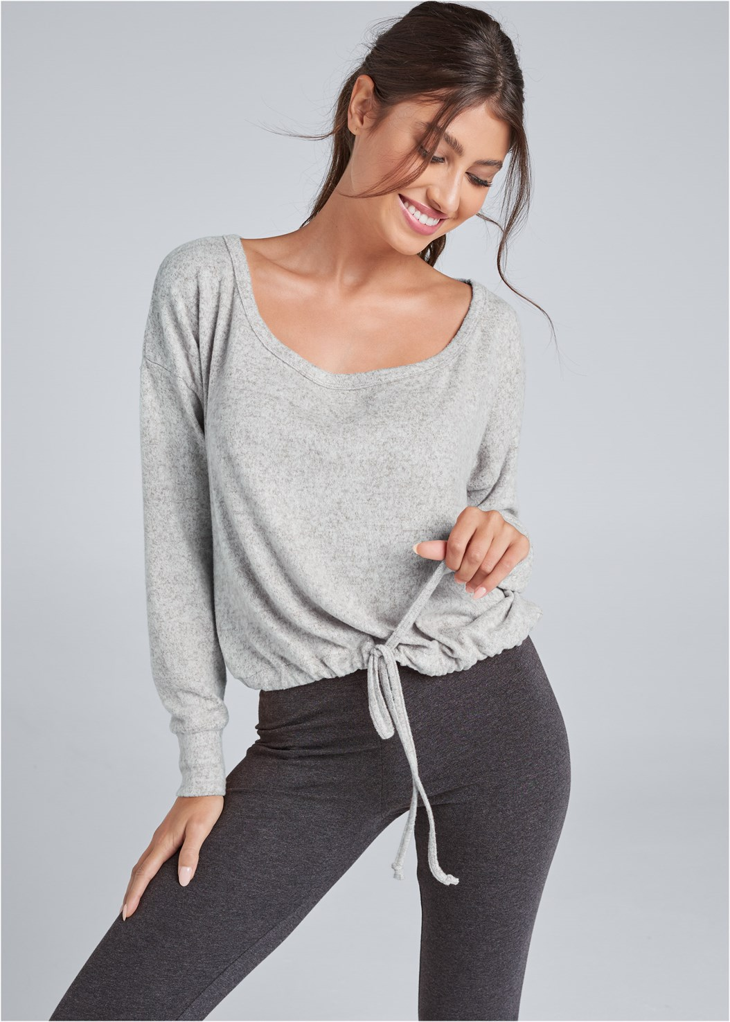 Cozy Off Shoulder Hacci Lounge Top,Basic Leggings