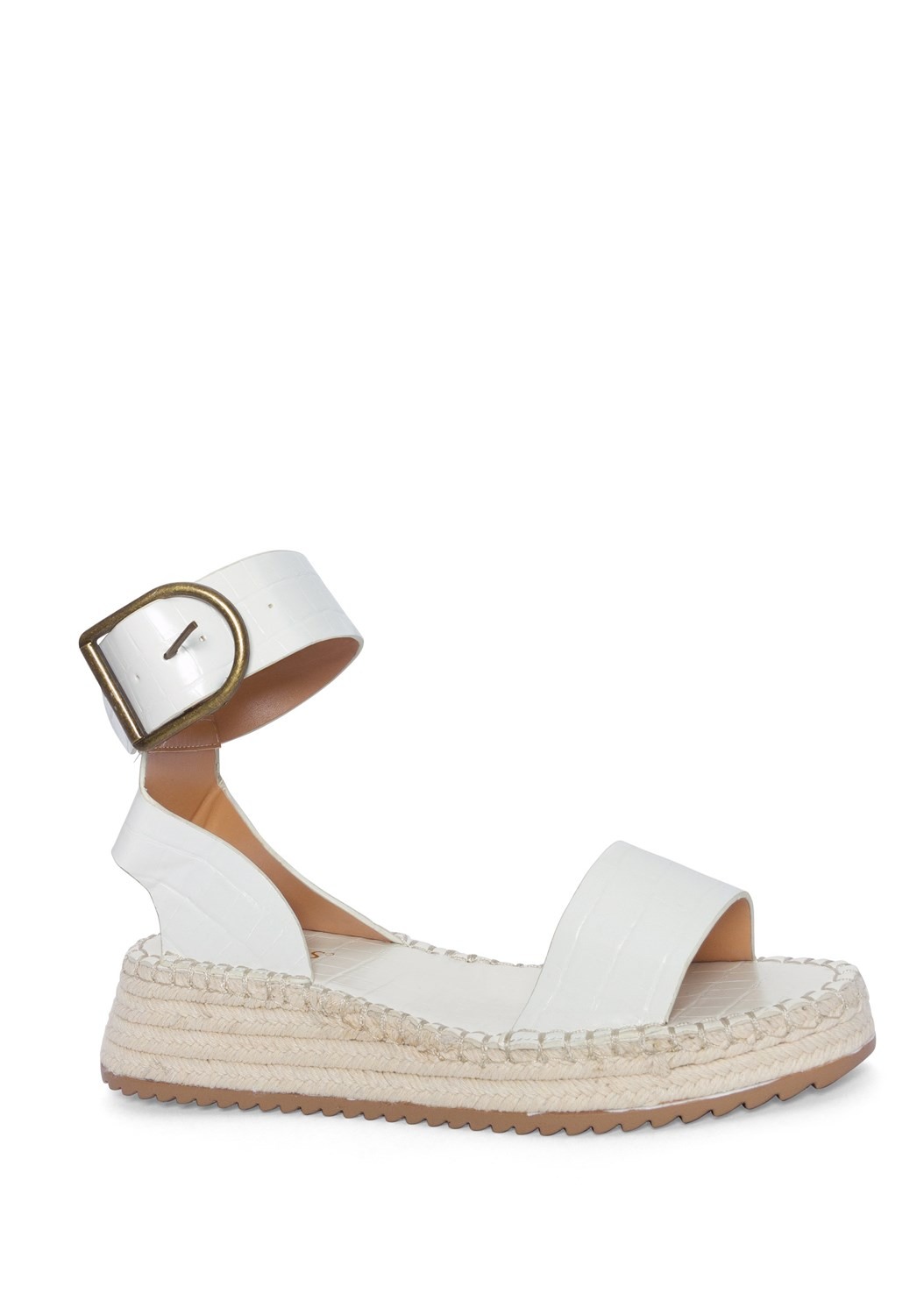 Textured Wide Strap Flatform Wedge