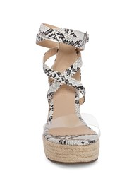 Front View Lucite Ankle Wrap Wedge