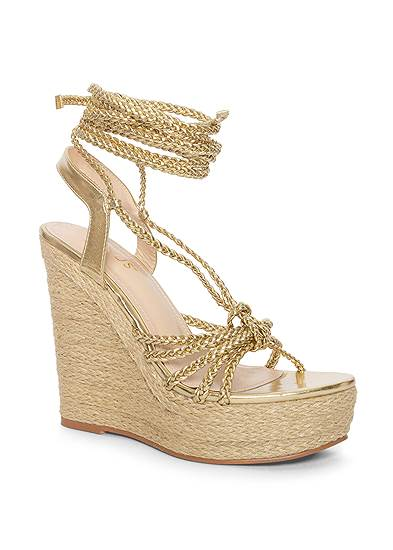 Lace Up Espadrille Wedge