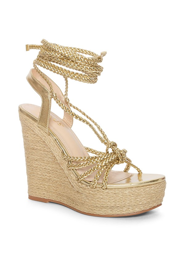 Lace Up Espadrille Wedge,Strapless Smocked Romper,Beaded Shell Hoops,Faux Ivory Bangle Set