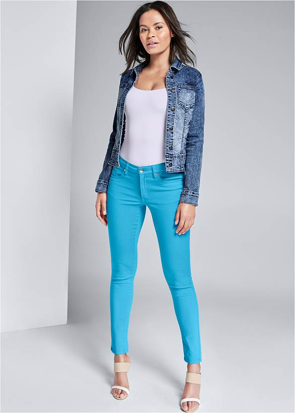 Mid Rise Color Skinny Jeans,Basic Cami Two Pack,Jean Jacket