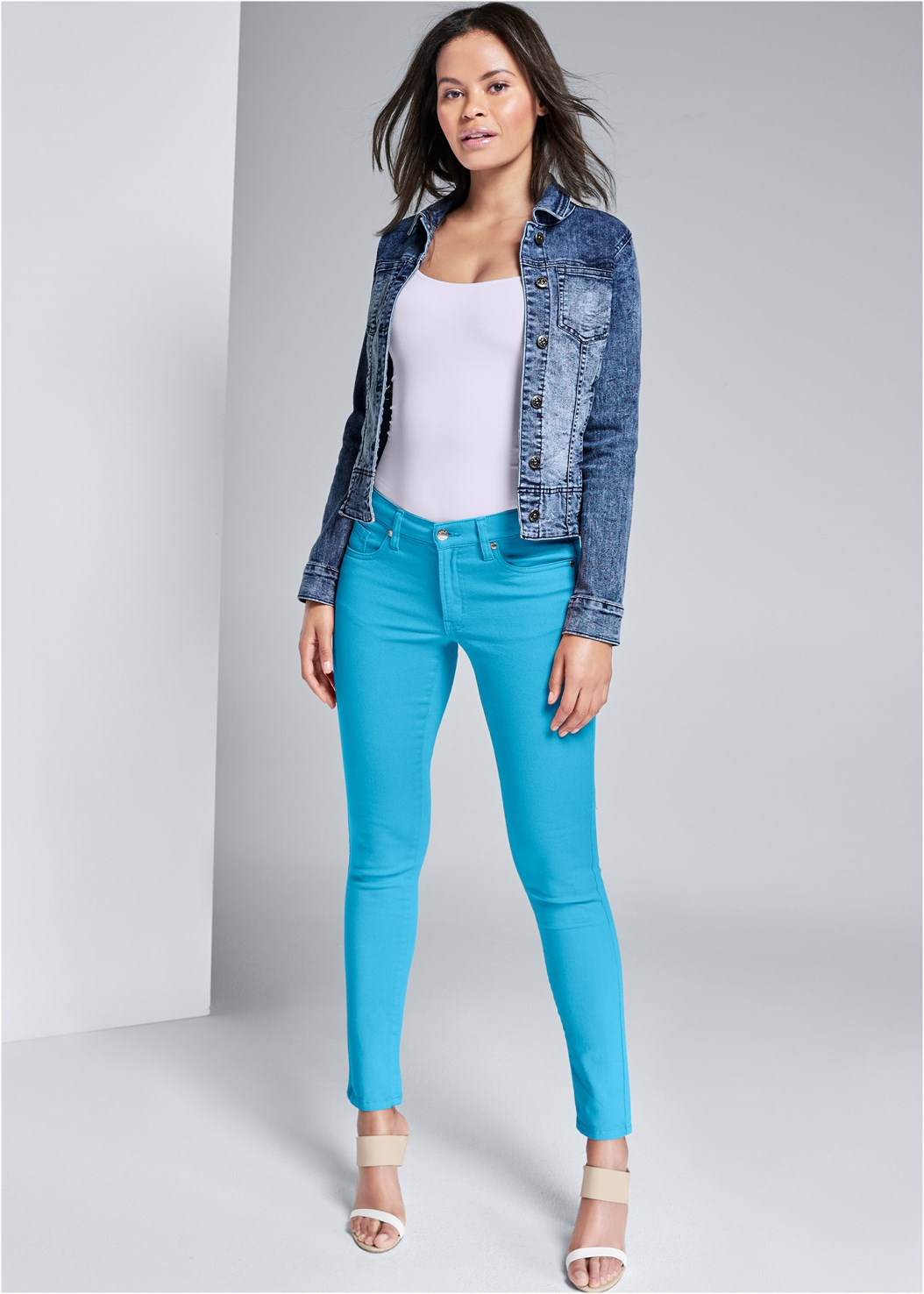 Mid Rise Color Skinny Jeans,Basic Cami Two Pack,Jean Jacket,Color Block Mules