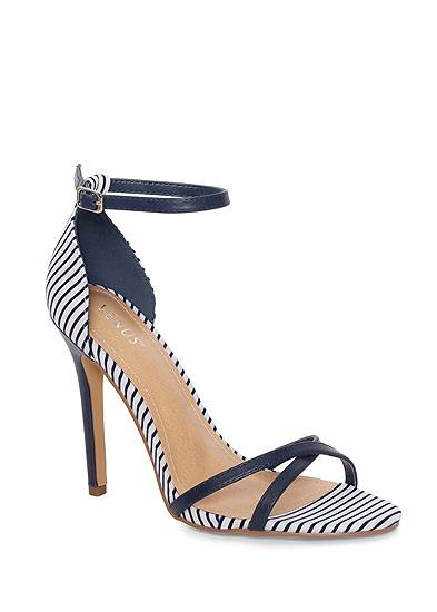 Striped Ankle Strap Heel