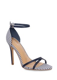 Front View Striped Ankle Strap Heel
