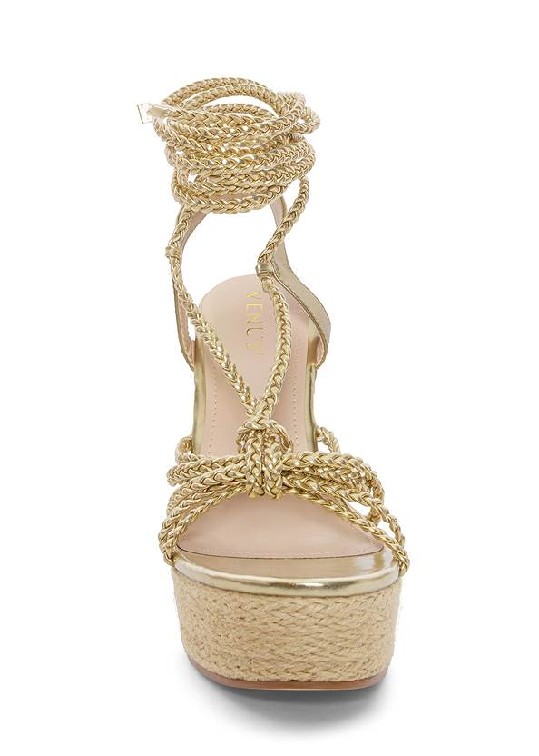 Front View Lace Up Espadrille Wedge