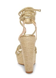 Back View Lace Up Espadrille Wedge