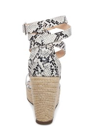 Back View Lucite Ankle Wrap Wedge