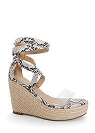 Shoe series 40° view Lucite Ankle Wrap Wedge