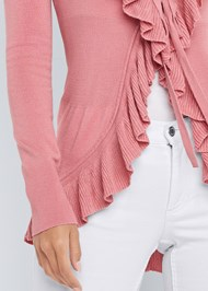 Alternate View Ruffle Tie Front Cardigan