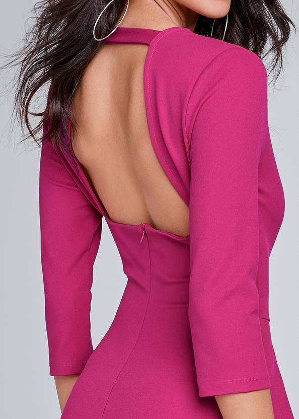 Detail back view Ruffle V-Neck Mini Dress