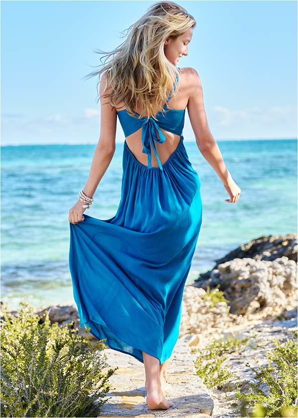 Full back view Embroidered Cover-Up Dress