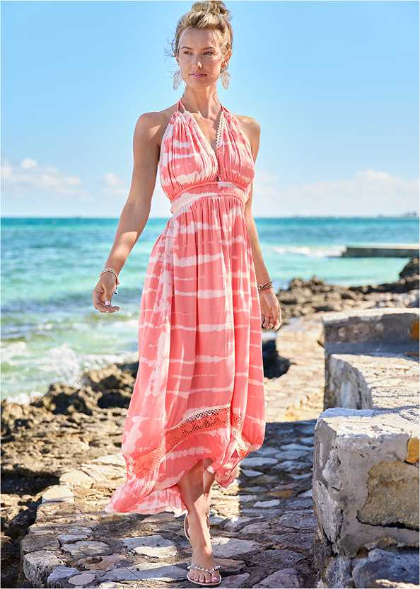 Tie-Dye Cover-Up Dress,Marilyn Underwire Push Up Halter Top,Scoop Front Classic Bikini Bottom ,Slimming Bandeau One-Piece,Studded Flip Flops,Leaf Earrings