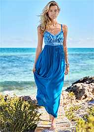 Full front view Embroidered Cover-Up Dress