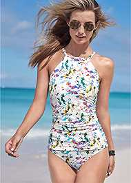 Cropped Front View Ruched Side Halter Tankini Top