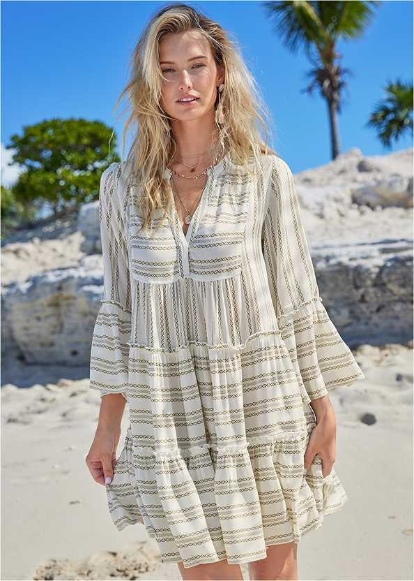 Ruffle Cover-Up Dress,Tribal Triangle Top,Tribal Low Rise Bottom,Slimming Draped One-Piece,Convertible Straw Tote Bag,Beaded Raffia Hoop Earrings,Shell Earrings