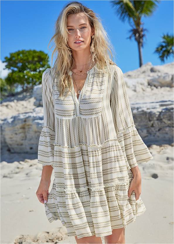 Ruffle Cover-Up Dress,Elastic Triangle Top,Low Rise Bottom,Slimming Draped One-Piece