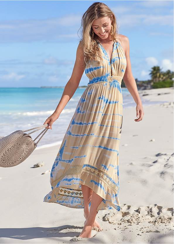 Tie-Dye Cover-Up Dress,Marilyn Underwire Push Up Halter Top,Scoop Front Classic Bikini Bottom ,Slimming Bandeau One-Piece