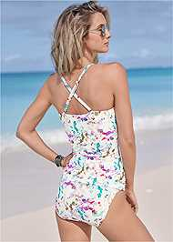 Cropped Back View Ruched Side Halter Tankini Top