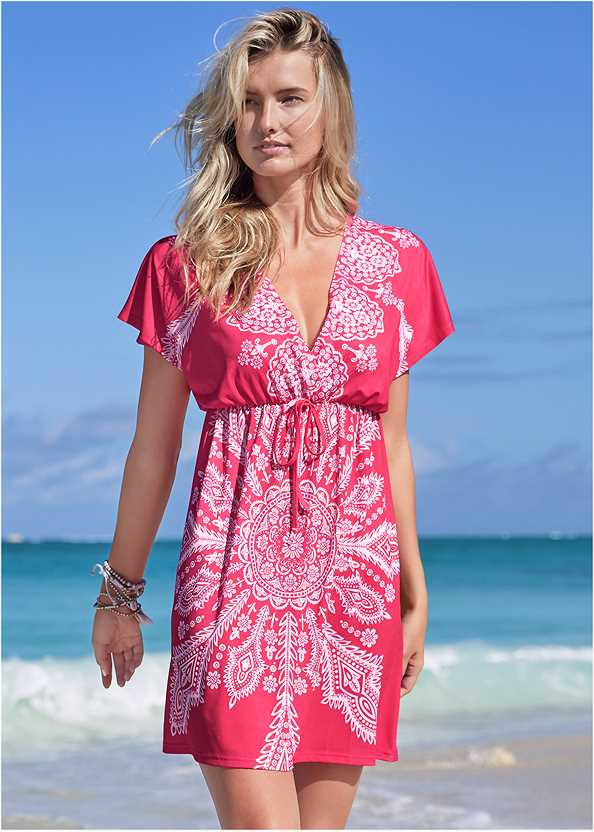 Printed Cover-Up Dress,Goddess Enhancer Push Up Halter Top,Scoop Front Classic Bikini Bottom ,Slimming Bandeau One-Piece,Multi Color Stone Sandals