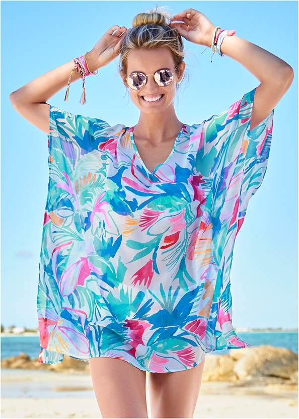 Kaftan Tunic Cover-Up,Triangle String Bikini Top,Scoop Front Classic Bikini Bottom ,Girlboss One-Piece