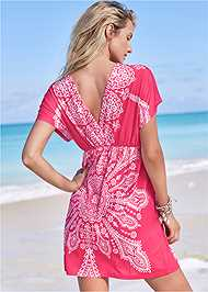 Full back view Printed Cover-Up Dress