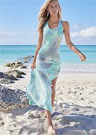 Full Front View Strappy Back Tie Dye Maxi Dress