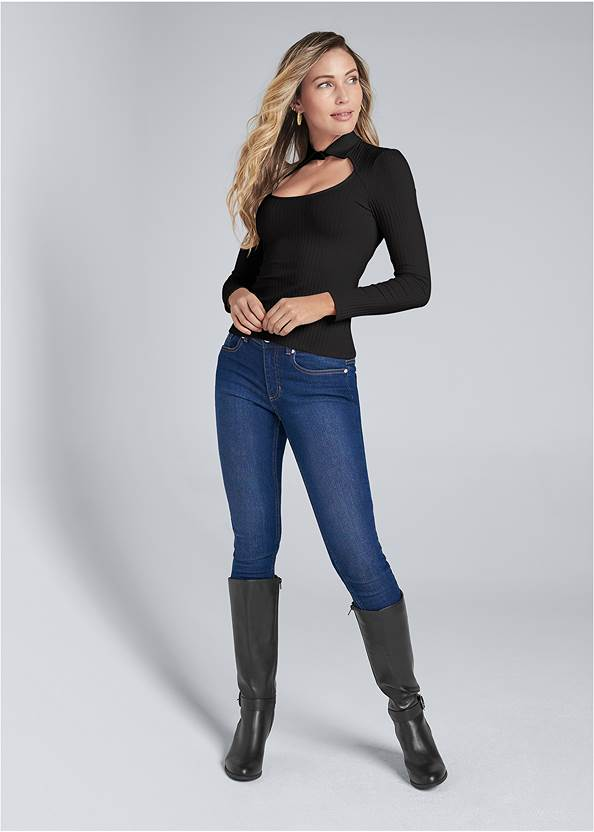 Full front view Ribbed Collared Neck Top