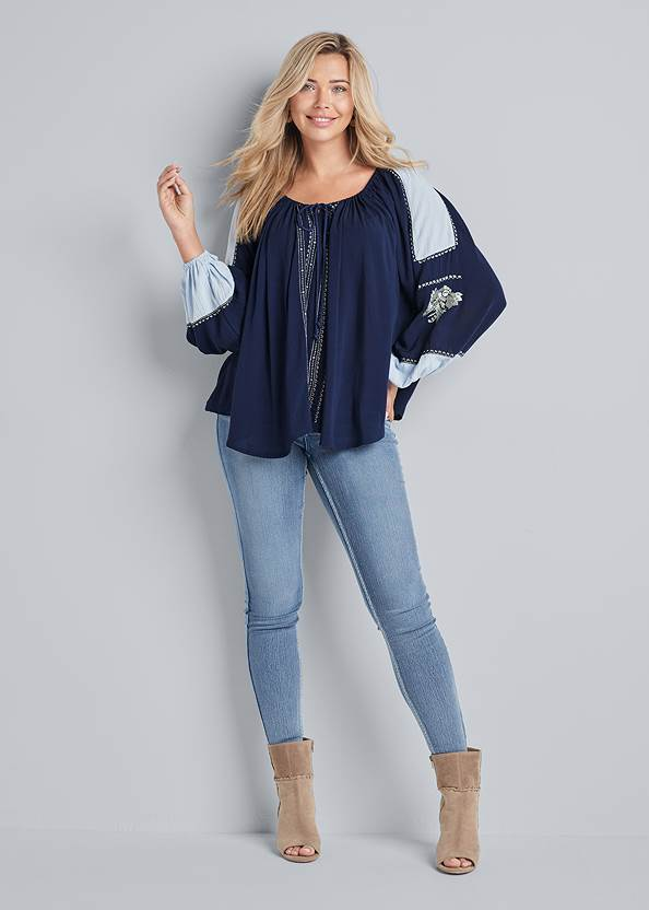 Full front view Embroidered Peasant Top