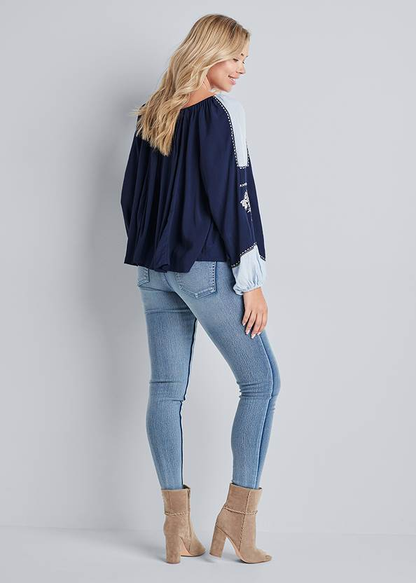 Full back view Embroidered Peasant Top