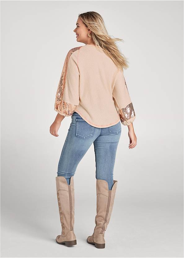 Full back view Sequin Waffle Knit Top