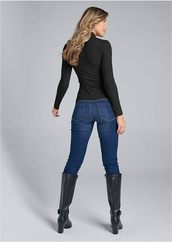 Back View Ribbed Collared Neck Top