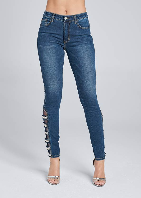 Waist down front view Lattice Detail Skinny Jeans