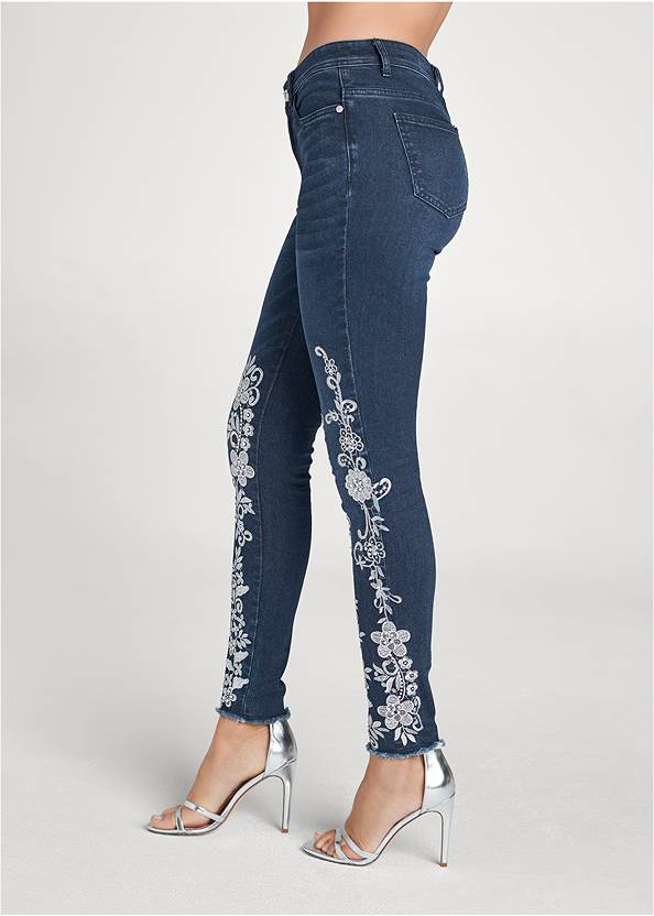 Waist down side view Floral Embroidered Jeans