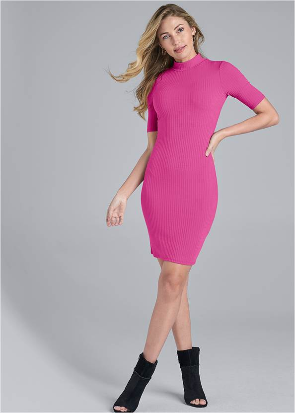 Full Front View Ribbed Mock Neck Dress