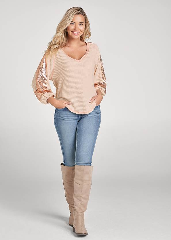 Full front view Sequin Waffle Knit Top
